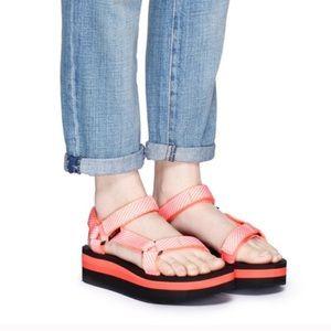 Teva platform candy stripe coral sandals 11